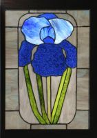 Blue Iris in Stained Glass by CarolynYM