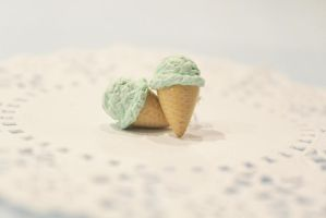 Polymer Clay Mint Ice Cream Studs by CharmStop
