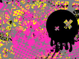 Pink and yellow wallpaper by ghoulskout