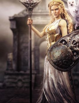 Athena, Goddess of War and Wisdom, Fantasy Art by shibashake