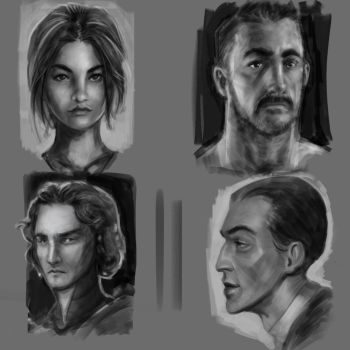 Head sketches by JChico