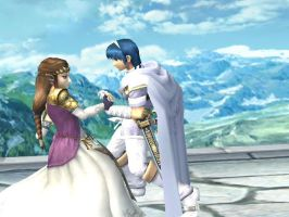 Marth and Zelda dancing by WAFFLEKIRBY