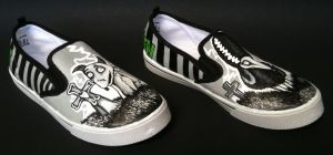 Handpainted Frankenweenie Kids Shoes by rachelliles352