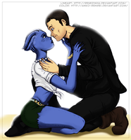 [Collab] Liara and Shepard. by Anko-sensei