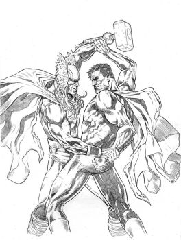 Thor Vs Superman by mikemaluk