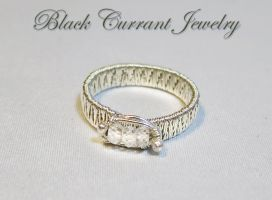 Woven Ring with High Cut Cubic Zirconia Beads by blackcurrantjewelry