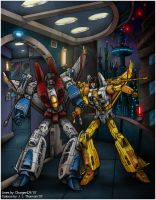 Starscream VS Sunburst by Sunstars