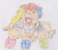 giantess Kanker Sisters head fusion by WhippetWild