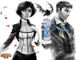 Bioshock Infinite fan art with Songbird by Cube-with-a-heart