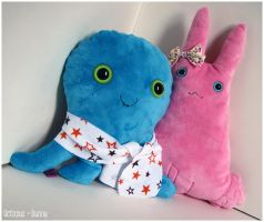 Octopus + Bunny plushies by OctopusandBunny
