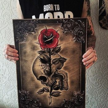 Skull Rose Wood Painting  by EdwardMiller