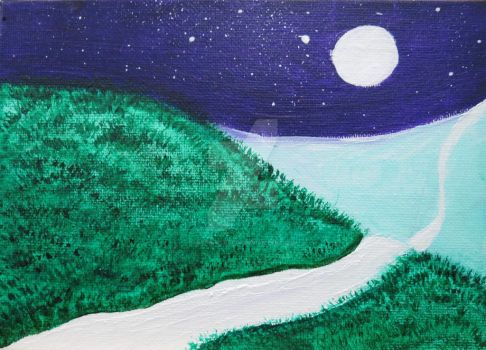 Acrylic painting - Over the hills we go by MidnightRae08
