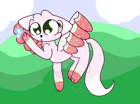Shortcake with a butterfly by WolfyTheAlicornWolf