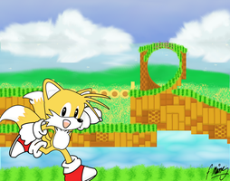 Tails in Emerald Hill Zone Redux by P-Manwag