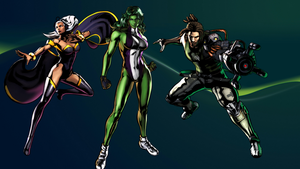 UMVC3 Team Wallpaper: She-Hulk, Storm, and Spencer by bxb-minamimoto