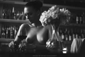 Nude portrait with wine by DenisGoncharov