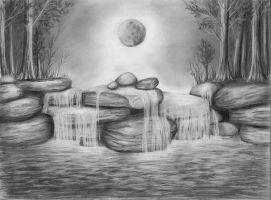 Moonlit Waterfall by Ametystical