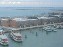 Pulling into Venice Italy on our ship by OceanRailroader