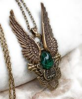 Dark Angel Pendant -Gold Green by Aranwen
