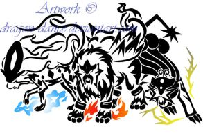 Tribal Raikou, Entei and Suicune Commission by DansuDragon