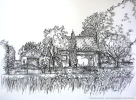 Pen and ink house by Jniq