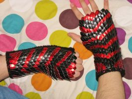 Chevron Scale Mail Knit Gloves by CraftyMutt