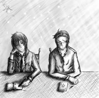 Sebastian and Claude as students by SpacePhoenix