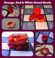 Orange, Red and White Dread Beads by CrystalCupcake13