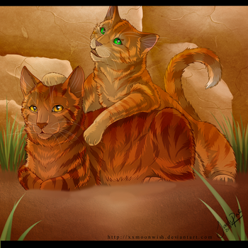 Alderpaw and Sparkpaw - spoilers - by TheMoonfall