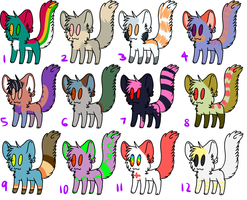 Cat adoptables 5 ONE LEFT! by FKandFriends