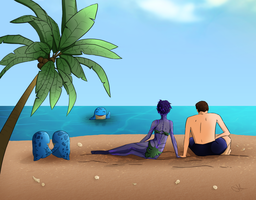 Beach Date - Chronicles Of Tyria Calendar by JolenarOfMalkshur