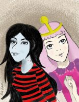 Marceline and Bubblegum by Katsumiiiii