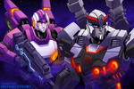 Prowl and Arcee by justabitscrewy