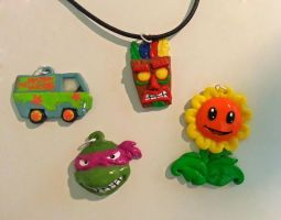 Polymer clay necklaces by Ragamuffyn