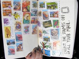 Stamps - Wreck this journal by artisjustfrozenmusic