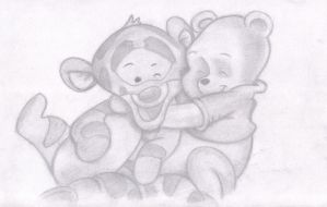 Drawing of Baby Winnie the Pooh and Tigger by SUNNY-3D-RAMM