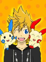 Roxas, Plusle, and Minun by LunaClefairy
