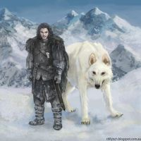 Jon Snow and Ghost by thlbest