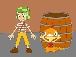El Chavo and his Pokemon Scraggy by Gamekirby