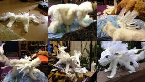 Anestai - Poseable White Feathered Dragon W.I.P. by SonsationalCreations