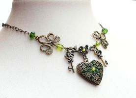 Absinthe heart locket choker by CreativityJewellery