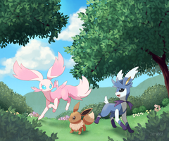Garden of Eevee by zerudez