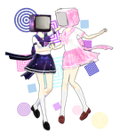 TV heads : Galaxy and Blossom (DOWNLOAD) by YamiSweet