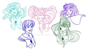 Sailor Senshi Expression Sketches (Outer Ver) by Ayayue