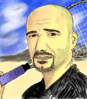 Andre Agassi - Freehand Sketch Practice #5 by wrongpixel
