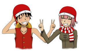 Christmas Luffy and Cress by JellyPirate