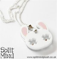 White Bunny Necklace by SplitxMindxPlush
