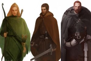 Legolas, Aragorn, and Boromir by sedone