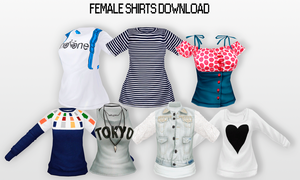 MMD Female Shirts DL by UnluckyCandyFox