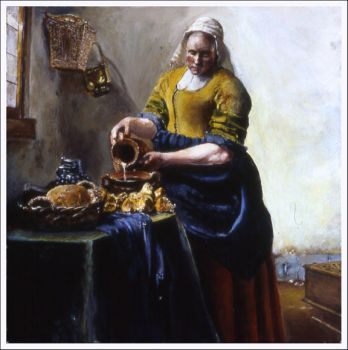 The Milkmaid -Vermeer study- by 5-blue-marks
